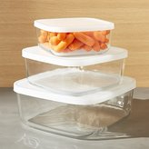 Crate & Barrel 3-Piece Glass Storage Container Set