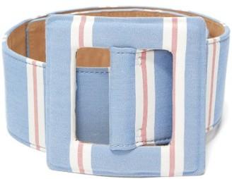 Carolina Herrera Square-buckle Striped Canvas Belt - Blue Multi