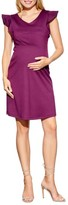 Maternal America Women's Flutter Sleeve Maternity Dress