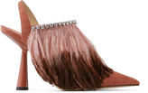Jimmy Choo AMBRE 100 Dark Blush Suede Slingback Heels with Ostrich Feather and Crystal Trim