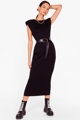 Nasty Gal Womens Spit Knit Out Shoulder Padded Midi Dress - Black