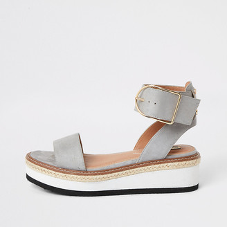 River Island Grey two part flatform sandals