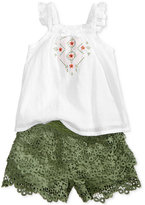 Nannette 2-Pc. Cotton Embroidered Top & Lace Shorts Set, Baby Girls (0-24 months)