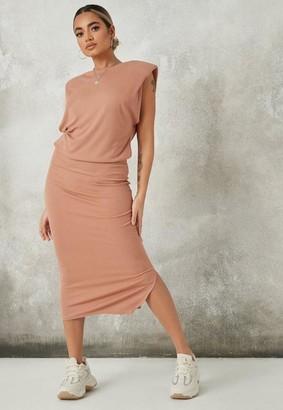 Missguided Tan Rib Shoulder Pad Midaxi Dress