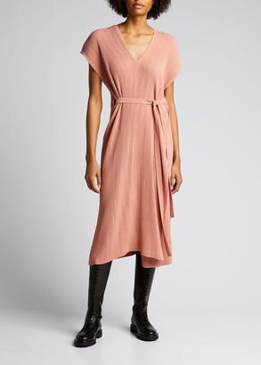 Issey Miyake Hatching Pleats V-Neck Cap-Sleeve Dress