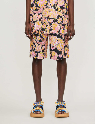 Gucci Paisley-print relaxed-fit linen shorts