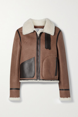 Loewe Leather-trimmed Shearling Jacket - Brown