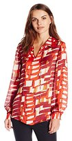 Vince Camuto Women's Long Sleeve Graphic Steps Tie Neck Blouse