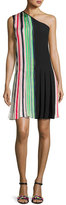Diane von Furstenberg One-Shoulder Pleated Ribbon Dress, Multicolor