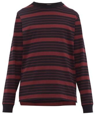 Raey Long-sleeved Striped Cotton-jersey T-shirt - Navy Stripe