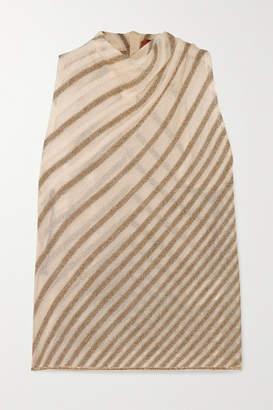 Missoni Draped Striped Metallic Crochet-knit Top - Ivory