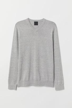 H&M V-neck Cotton Sweater - Gray