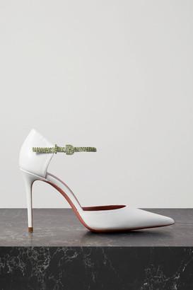 Amina Muaddi Ursina Crystal-embellished Leather Pumps - White