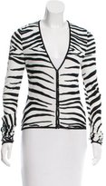 John Galliano Zebra Pattern V-Neck Cardigan