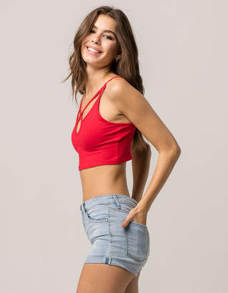 Ambiance Apparel AMBIANCE Cross Front Red Womens Crop Cami