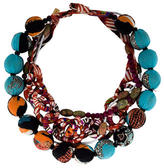 Etro Printed Silk Bead Necklace