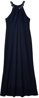 Adrianna Papell Crepe Evening Gown (Midnight) Women's Dress