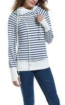 Meaneor Women's Casual Long Sleeve Pullover Striped Hoodies Sweatshirt with Two Hoods