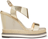 Nicholas Kirkwood Leda metallic woven-trimmed glossed-leather wedge sandals