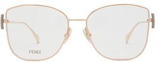 Fendi Crystal-embellished Cat-eye Metal Glasses - Womens - Gold