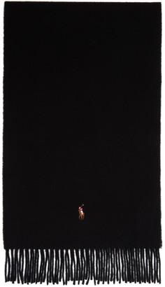 Polo Ralph Lauren Black Signature Wool Scarf