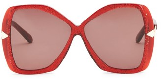 Karen Walker 60MM Mary Red Glitter Sunglasses