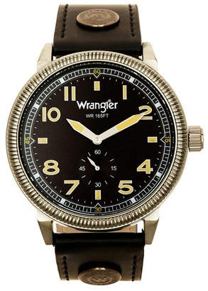 Wrangler Men Watch, 48.5MM Ip Gun Metal Case with Milled Bezel, Grey Sand Satin Dial with White Arabic Numerals, Grey Strap with Logo Rivet and White Accent Stitching