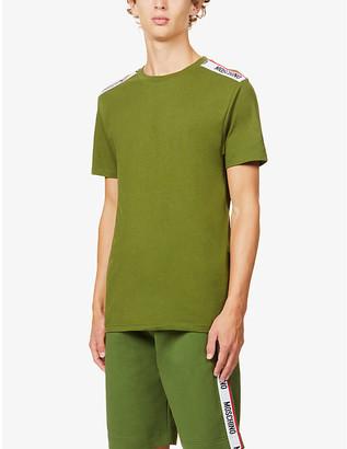 Moschino Branded-trim crewneck cotton-jersey T-shirt