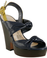 navy leather 'Naughty Knot' wedges