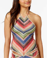 Becca West Village Sparkly Open-Back Halter Tankini Top