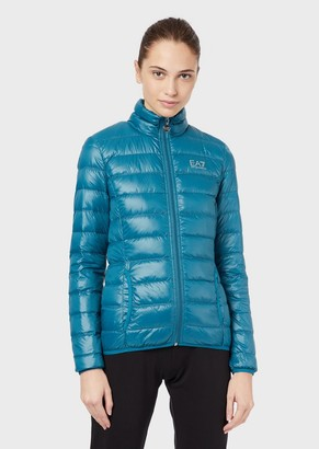 Ea7 Full-Zip, Quilted Down Jacket
