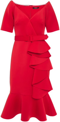 Badgley Mischka Ruffled Belted Scuba Midi Dress