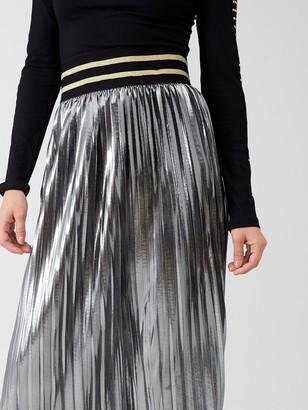 River Island Metallic Pleated Midi Skirt- Silver