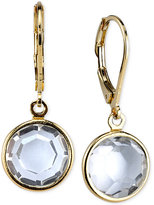 2028 Gold-Tone Faceted Clear Crystal Drop Earrings
