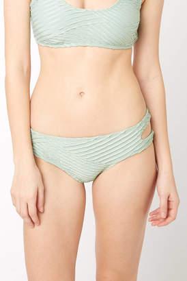 Bikini Lab Sage Sand Dunes Ribbed Cutout Hipster Bikini Bottom Sage L