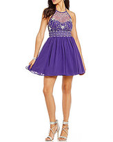 B. Darlin Crystal Beaded Illusion Bodice Party Swing Dress