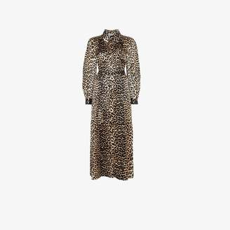 Ganni Black, Brown And White Womens Brown Leopard Print Maxi Silk Shirt Dress