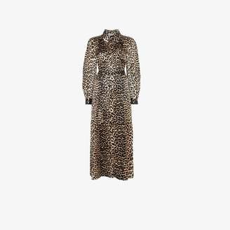 Ganni Womens Brown Leopard Print Maxi Silk Shirt Dress