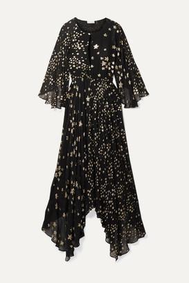 LoveShackFancy Solana Asymmetric Metallic Fil Coupé Silk-blend Chiffon Maxi Dress - Black