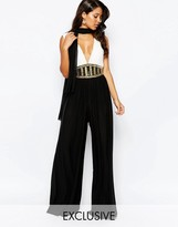 Forever Unique V Neck Jumpsuit With Statement Embellismnet