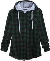 Shinekoo Women Autumn Stylish Jacket Casual Plaid Coat Outwear Hooded Paeka
