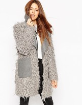 Asos Coat with Faux Fur Body and Contrast Collar