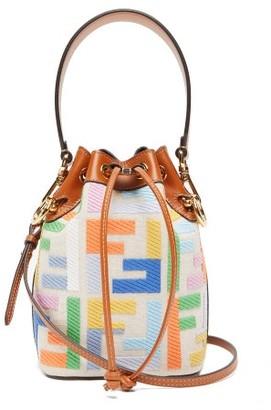 Fendi Mon Tresor Mini Ff Logo-jacquard Bucket Bag - Multi