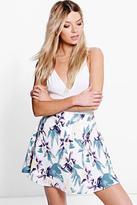 Boohoo Amaya Tropical Floral Woven Skater Skirt