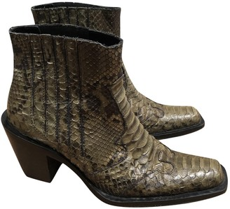 Non Signé / Unsigned Non Signe / Unsigned Green Alligator Ankle boots