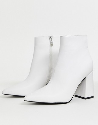 Public Desire Empire block heeled ankle boot in white