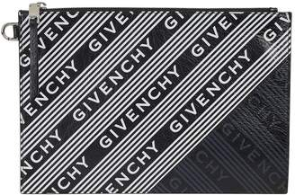 Givenchy Medium Leather Logo Stripe Pouch