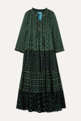 Yvonne S Hippy Tiered Printed Cotton-voile Maxi Dress - Dark green