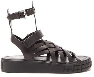 Prada Trek Sole Leather Sandals - Black
