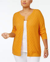 August Silk Plus Size Textured Cardigan